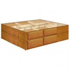 18 Inch Oak 8 Drawer Double Stacked Pedestals Available in King and Queen